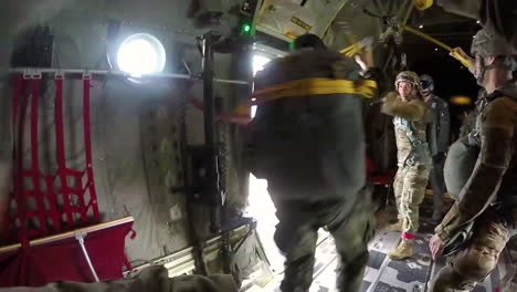 Pov-Shot-Of-A-Paratrooper-Jumping-From-A-Military-Airplane