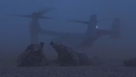 A-V22-Osprey-Aircraft-Rises-In-A-Cloud-Of-Dust-From-The-Battlefield-In-Afghanistan-2