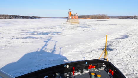 A-Coast-Guard-Cutter-Breaks-Ice-Along-The-Hudson-River-In-Upstate-New-York
