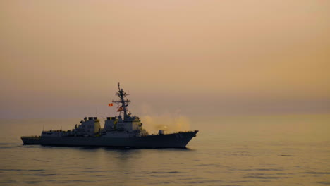 Us-Navy-Destroyers-Are-Seen-In-The-Pacific-Ocean-One-Fires-Their-5Inch-Guns-In-A-Sea-Power-Demonstration