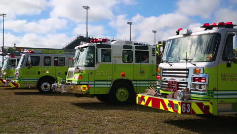 Miamidade-Firemen-Are-Seen-By-Their-Trucks
