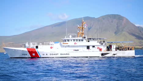 A-Us-Coast-Guard-Ship-Sails-In-Honolulu