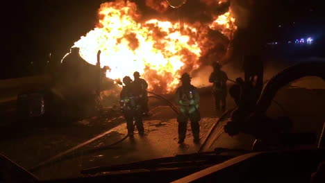 Salt-Lake-Firefighters-Work-To-Extinguish-The-Flames-After-A-Semitrailer-Hauling-Gas-On-I15-Is-Overturned-And-Explodes