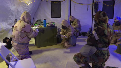Men-And-Women-In-The-Us-Air-Force-Don-Protective-Gear-For-A-Simulated-Chemical-Attack