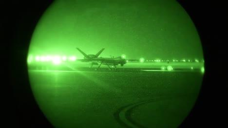An-Aircraft-Taxis-At-Cannon-Air-Force-Base-At-Night