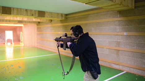 German-Soldiers-Shoot-At-An-Indoor-Gun-Range-On-The-Chievres-Air-Base