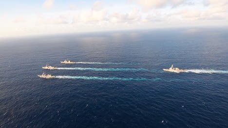 The-Uss-Mustin-Uss-Antietam-And-Uss-Curtis-Wilbur-Of-The-Us-Navy-Sail-With-The-Japanese-Navys-Js-Fuyuzuki-As-Part-Of-A-Joint-Training-Exercise