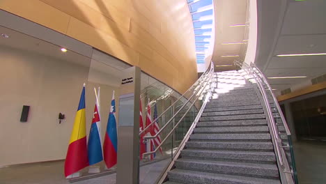 The-Public-Square-At-The-New-Nato-Headquarters-Displays-The-Members-Flags
