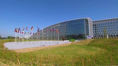 Nato-Members-Flags-Are-Flown-Outside-The-Organizations-New-Headquarters-In-Brussels