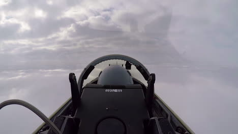 A-Squadron-Of-T38C-Planes-Flies-Through-The-Clouds-With-The-Footage-Shot-From-One-Of-The-Aircrafts-Cockpits