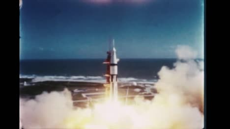 Apollo-7-Rocket-Launches-From-Its-Launch-Pad-And-Sheds-Its-Rockets-While-Blasting-Out-Of-the-Atmosphere-1968