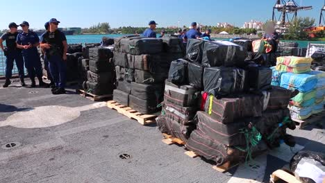 the-Crew-Of-the-Coast-Guard-Cutter-Tampa-Offloads-27000-Pounds-Of-Cocaine-At-Base-Miami-Beach-March-22-2019
