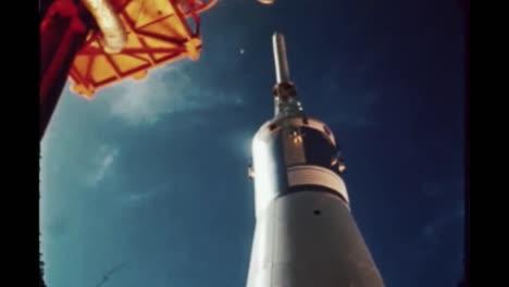 Imágenes-En-Cámara-Lenta-Del-Cohete-Apolo-7-Mientras-Despegaba-De-Su-Plataforma-De-Lanzamiento-1968