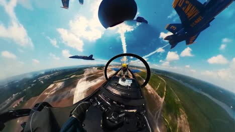 360-Footage-Of-the-Us-Navy-Flight-Demonstration-Squadron-the-Blue-Angels-Flying-In-Formation-And-Performing-Spins-May-2-2019