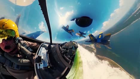 360-Footage-Of-the-Us-Navy-Flight-Demonstration-Squadron-the-Blue-Angels-Flying-In-Formation-And-Dropping-their-Landing-Gear-May-2-2019