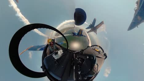 360-Footage-Of-the-Us-Navy-Flight-Demonstration-Squadron-the-Blue-Angels-Flying-In-Formation-While-Contrails-Trail-Behind-May-2-2019