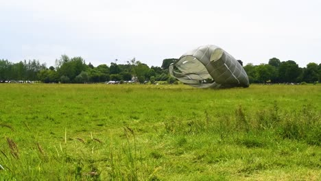 A-Paratrooper-Lands-In-A-Field-Near-Saintemereeglise-France-For-the-75th-Commemoration-Of-Dday-June-9th-2019