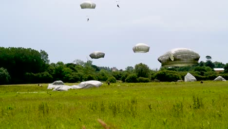 Many-Paratroopers-Land-In-A-Field-Near-Saintemereeglise-France-For-the-75th-Commemoration-Of-Dday-June-9th-2019