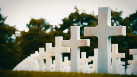 Unmarked-Gravestones-At-the-American-Cemetery-In-Normandy-France-Honoring-those-Who-Died-During-the-Invasion-Of-World-War-Ii