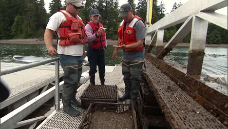 Men-Work-On-A-Floating-Aquaculture-Shellfish-Farm-In-the-Us-2010S