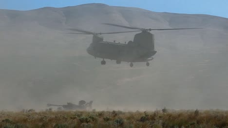 A-Us-Army-Transport-Helicopter-Lands-In-A-Dry-Field