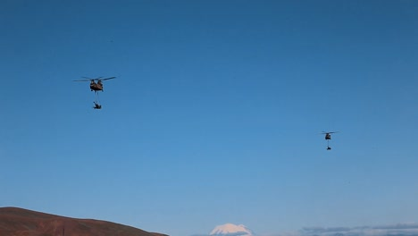 Us-Army-Helicopters-Drop-Off-Artillery-Equipment-In-An-Open-Field