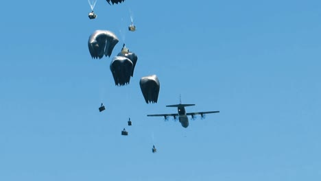 Supplies-Are-Parachute-Dropped-From-A-Usaf-Aircraft