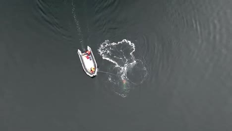 Aerial-And-Head-Mount-Footage-Of-Noaa-Attempting-To-Distenagle-A-Humpback-Whale-From-Fishing-Gear