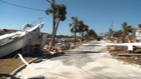 A-Destroyed-Harbor-With-A-Beached-Boat-In-Lynn-Haven-Florida-Due-To-Hurricane-Michael-2018