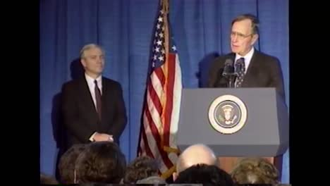 President-George-H-W-Bushs-Speaks-About-Forming-A-Treaty-With-Russia-And-the-threat-Of-Terrorism-During-His-Farewell-Speech-To-the-Cia