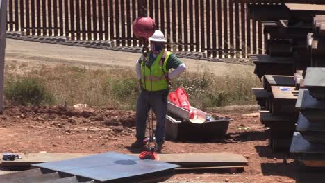 Us-Army-Corp-Of-Engineers-Contractor-Installs-Section-Of-Border-Barrier-Wall-Or-Border-Fence-Near-San-Diego-Ca