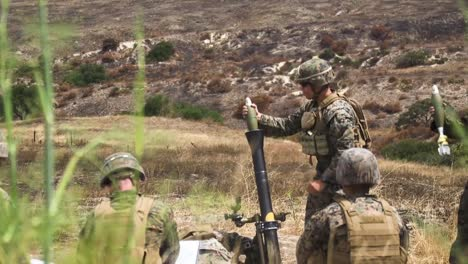 Us-Marines-Infantry-Unit-Leader-Course-Fire-M252-Mortar-Systems-At-Marine-Corps-Base-Camp-Pendleton-California-2
