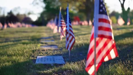 Slow-Motion-Broll-Of-Flags-Monuments-And-Graves-In-the-Rhode-Island-Veterans-Memorial-Cemetery-Exeter-Ri