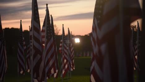 Slow-Dolly-Shot-Memorial-Day-Field-Of-Heroes-Display-Honoring-Americas-Fallen-War-Heroes-Westerville-Ohio