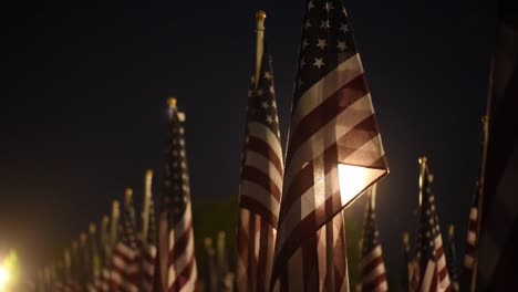 Slow-Motion-Of-Flags-And-Visitors-To-A-Memorial-Day-Field-Of-Heroes-Display-In-Honoring-Americas-War-Dead