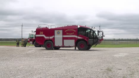 788th-Civil-Engineer-Squadron-Firemen-Train-To-Extinguish-Flames-Using-A-Fire-Truck-Wrightpatterson-Air-Force-Base-Ohio