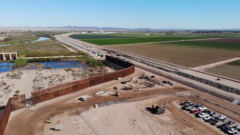 Aerial-Drone-Footage-Of-the-Usarmy-Corp-Of-Engineers-South-Pacific-Border-District-Yuma-6-Project-Construction-Arizona