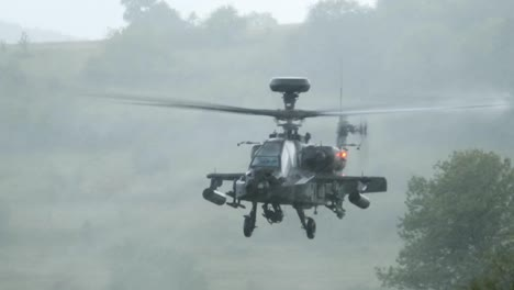 Us-Army-Ah64-Apache-Attack-Helicopter-Lands-In-Downpour-Nato-Combined-Resolve-Exercise-In-Germany