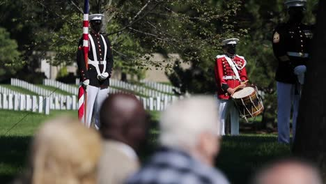 Slow-Motion-Us-Marines-In-Dress-Uniform-Lay-A-Fallen-Soldier-To-Rest-At-Arlington-National-Cemetery-Washington