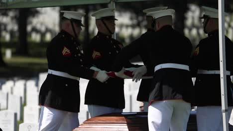 Los-Infantes-De-Marina-Estadounidenses-En-Uniforme-De-Gala-Yacía-Un-Soldado-Caído-Para-Descansar-En-El-Cementerio-Nacional-De-Arlington-Washington-2
