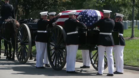 Us-Marines-In-Dress-Uniform-Lay-A-Fallen-Soldier-To-Rest-At-Arlington-National-Cemetery-Washington-5