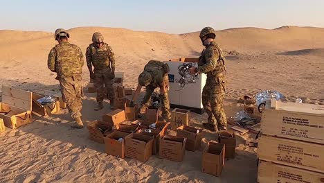 Soldiers-745-Ordnance-Detachment-(Eod)-Sort-And-Dispose-Of-Outdated-Explosives-And-Fuses-In-A-Desert-Location