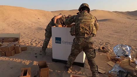 Soldiers-745-Ordnance-Detachment-(Eod)-Sort-And-Dispose-Of-Outdated-Explosives-And-Fuses-In-A-Desert-Location-1