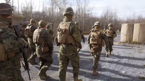 Us-Marines-Soldiers-March-And-Fire-Weapons-In-Fire-Team-Immediate-Action-Drills-At-Fort-Drum-New-York