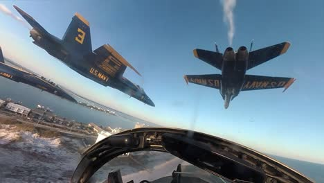 Cockpit-View-Us-Navy-Blue-Angels-Final-Flight-F/A18-A/B/C/D-Legacy-Hornets-Over-Beach-At-Pensacola-Florida