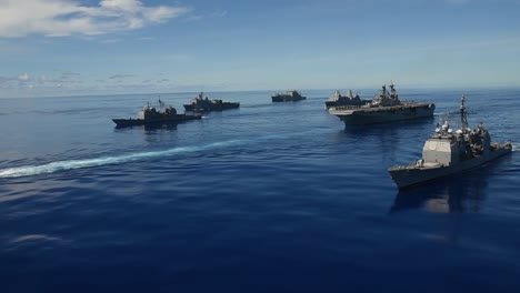 Aerial-Of-Us-Navy-Ships-In-Formation-During-Valient-Shield-Joint-Blue-Water-Training-Exercise-In-the-Philippine-Sea