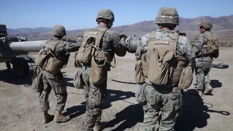 Us-Marines-Direct-Fire-Drill-With-M777-Howitzer-Marine-Corps-Combat-Readiness-Evaluation-Camp-Pendleton-Ca