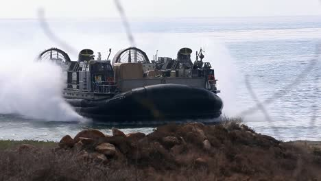 Us-Marine-Air-Cushioned-Landing-Craft-Tranports-Weapons-From-Ship-To-Shore-During-A-Field-Exercise-California-1