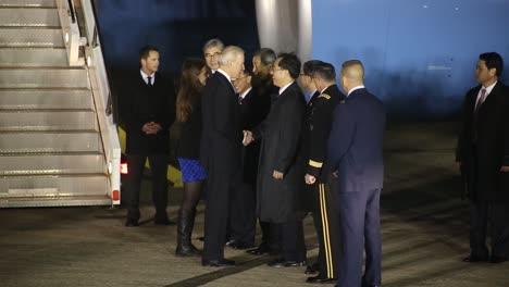 Us-Vice-President-Joe-Biden-Greets-American-And-Korean-Dignitaries-After-Landing-At-Osan-Air-Force-Base-Korea