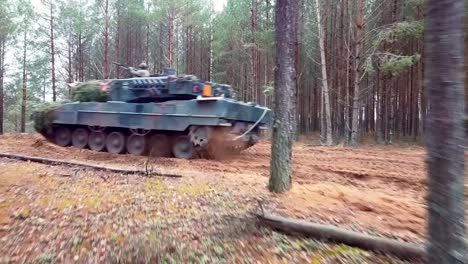 Drone-Shots-Training-Exercise-Of-Military-Armoured-Units-Driving-German-Leopard-Ii-Tanks-Lithuania